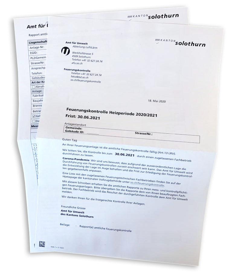 Heizperiode 2020/2021 – Aufgebot zur Amtlichen Feuerungskontrolle